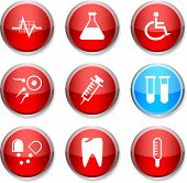 Medical set of round glossy icons.