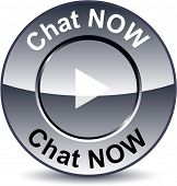 Chat now round metallic button. Vector.