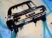 Grafitti Stencil Black Car