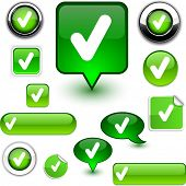 stock photo of check mark  - Check vector glossy icons - JPG