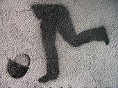 Grafitti Stencil Kicking Legs