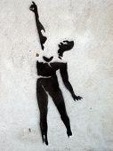 Grafitti Stencil Pointing Man