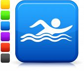 Swimming icon on square internet button Six color options included.