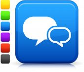 Chat Room icon on square internet button  Six color options included.