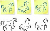 horses on post it notes original vector illustration 6 color versions included