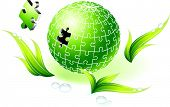 Incomplete Natural Green Globe Puzzle Original Vector Illustration Incomplete Globe Puzzle Ideal for Unity Concept