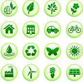 Green Environmental Buttons Original Vector Illustration Buttons Collection