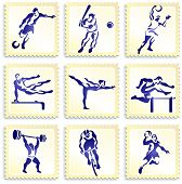 Sports Stamp Collection Original Vector Illustration
