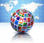 Flags Globe with World Map Original Vector Illustration EPS10