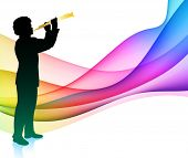 Flute Musician on Colorful Abstract Background Original Vector Illustration