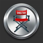 Director Chair Icon on Metal Internet Button Original Vector Illustration
