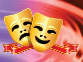 comedy and tragedy masks on Abstract Liquid Wave Background Original Vector Illustration
