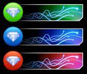 Diamanten-Symbol auf Tcl/Tk-farbigen Button Set Original Illustration