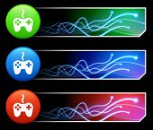 Game Controller Icon on Mutli Colored Button Set Original Illustration
