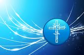 Religious Cross Button on Blue Abstract Light Background Original Illustration