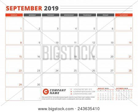 Calendar Planner September 2019.Calendar Template For September 2019 Business Planner Template Stationery Design Week Starts On S Poster