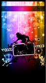 Disco Event Poster with a Disk Jockey  remixing two disks with a waterfall of glitters lights on the