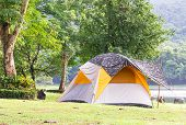 Dome Tent Camping At Lake Side poster