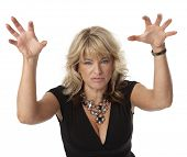 picture of cougar  - Waist up view of woman in a bad mood on white background - JPG