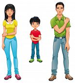Sick family. Vector cartoon and isolated characters.