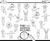 Find Two Identical Kids Pictures Coloring Book poster