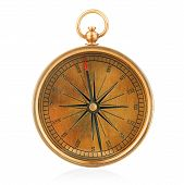 Vintage Compass Isolated On White A Background. poster