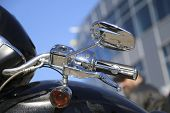Motorcycle Side Mirror. Handle And Rear View Mirror Of Motorcycle. Motorcycle Mirror Detail poster