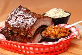 Bbq Ribs With Beans And Cole Slaw