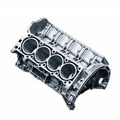 Cylinder Block .automotive Part, Machine Part Isolated On A White Background. Engine Block V8 poster