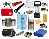 stock photo of dangerous situation  - Objects useful in an emergency situation isolated on white - JPG