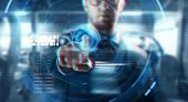 business, augmented reality, technology and cyberspace concept - close up of businessman in suit wor poster