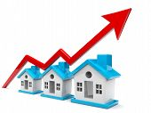 3d House And Arrow Graph. Growth In Real Estate, Real Estate Industry Concept poster