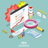 Flat Isometric Vector Concept Of Search Engine Ranking, Web Analytics, Seo, Website Optimization Mar poster