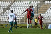 KAPOSVAR, HUNGARY - SEPTEMBER 24: Adamo Coulibaly (red 39) in action at a Hungarian National Championship soccer game - Kaposvar (white) vs Debrecen (red) on September 24, 2011 in Kaposvar, Hungary.