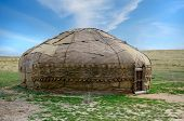 foto of yurt  - Traditional asian yurt made of hide and using since 9th century BC - JPG