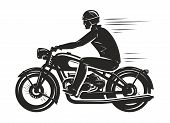 Постер, плакат: Biker Rides A Retro Motorcycle Silhouette Motorsport Motorbike Concept Vector Illustration Isola