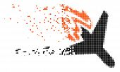 Dispersed Air Crash Dot Vector Icon With Disintegration Effect. Rectangular Items Are Combined Into  poster