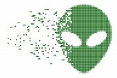 Dissolved Alien Face Dotted Vector Icon With Disintegration Effect. Rectangle Dots Are Organized Int poster