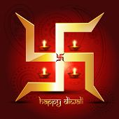 picture of swastik  - diwali diya with swastik symbol - JPG