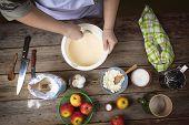Preparing Fresh Pancakes. Cooking Food. Women Preparing Pancakes In The Kitchen. Woman In The Kitche poster