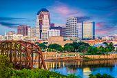 Shreveport, Louisiana, USA skyline over the Red River at dusk. poster