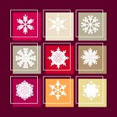 Big Set Of Snowflakes. Christmas Card With Snowflakes And  Colorful   Background.beautiful Snowflake poster