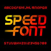 Speed Alphabet Font. Wind Effect Type Letters And Numbers On Black Background. Stock Vector Typeset. poster