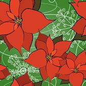 Seamless Poinsettia Background