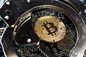 Handcuffs And Bitcoin Coin. Crime With Cryptocurrency. poster