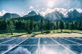 Solar Cell Panel In Country Mountain Landscape. poster
