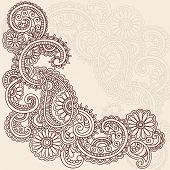 Hand-Drawn Abstract Henna Mehndi Swirls, Flowers and Paisley Doodle Vector Illustration Design Eleme