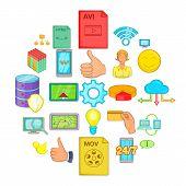 Internet Entertainment Icons Set. Cartoon Set Of 25 Internet Entertainment Vector Icons For Web Isol poster