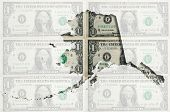 Outline Map Of Alaska With Transparent American Dollar Banknotes In Background