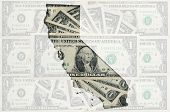 Outline Map Of California With Transparent American Dollar Banknotes In Background